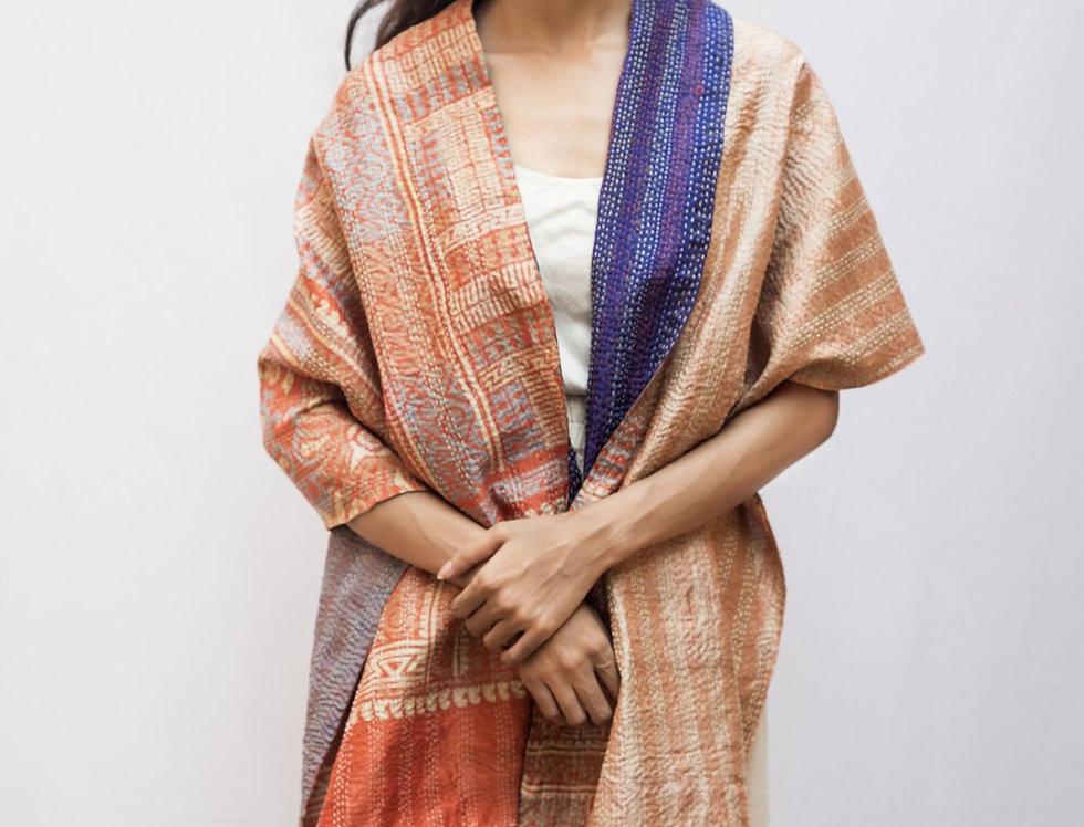 Kantha Sari Scarf | apricot block print &  grey