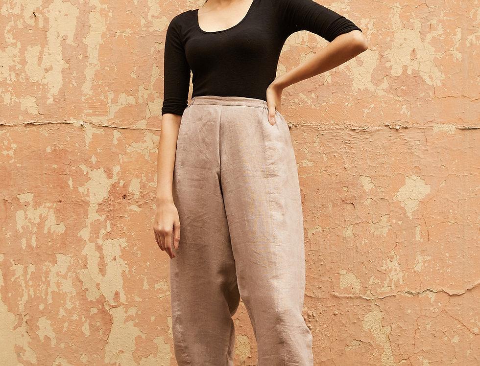 Natural Dye Linen Obi Tuck Pants | ash grey