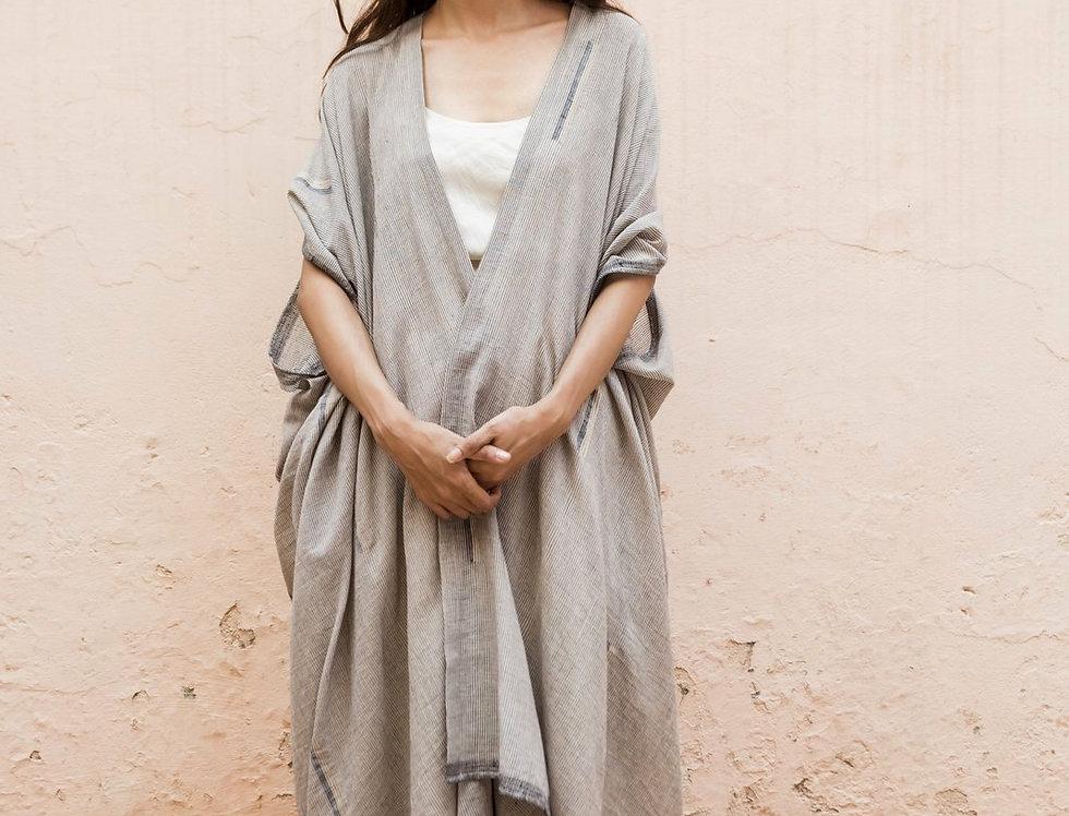 Dune Robe | jamdani indigo & gicha