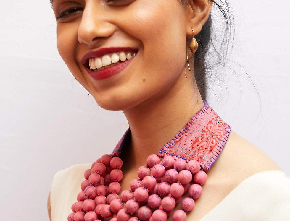 Kantha Beaded Necklace   sunset pink