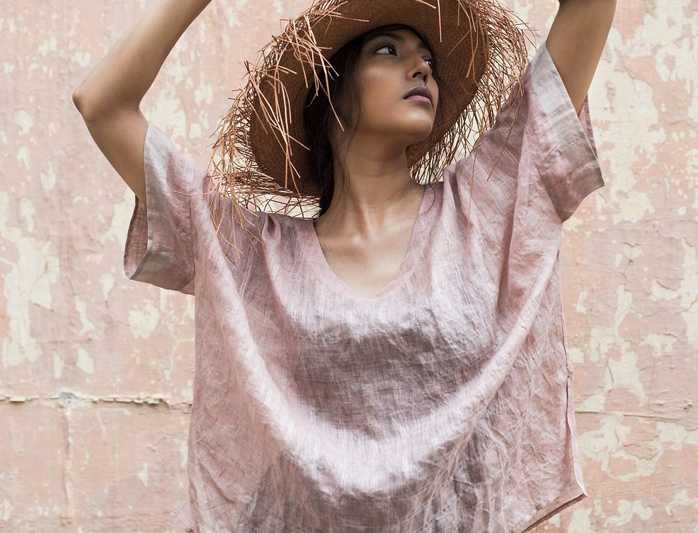 Lineya Linen Box Top   blush & silver