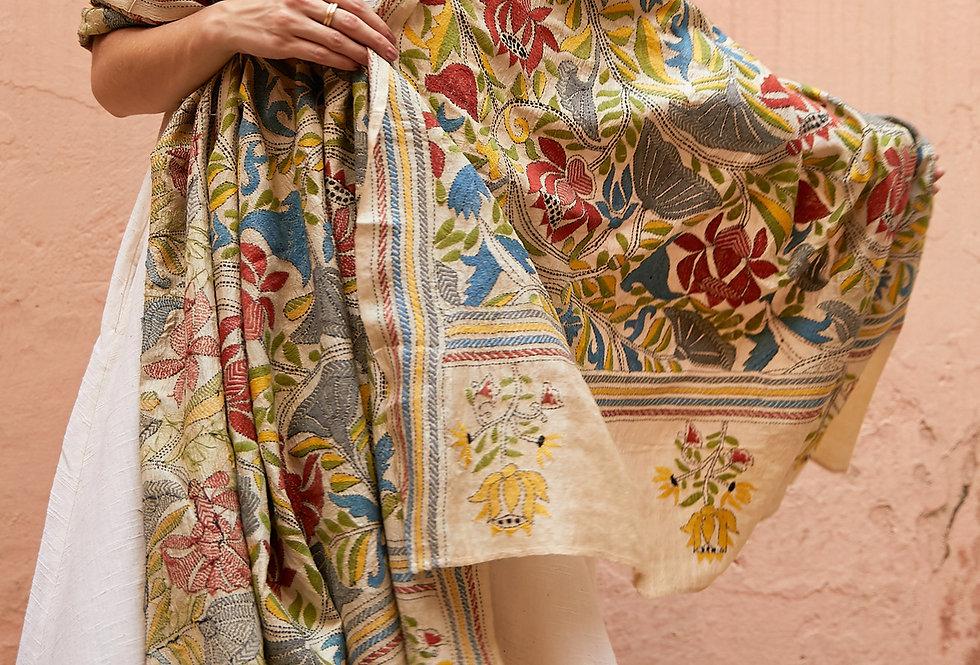 Nakshi Kantha Wrap | summer bloom