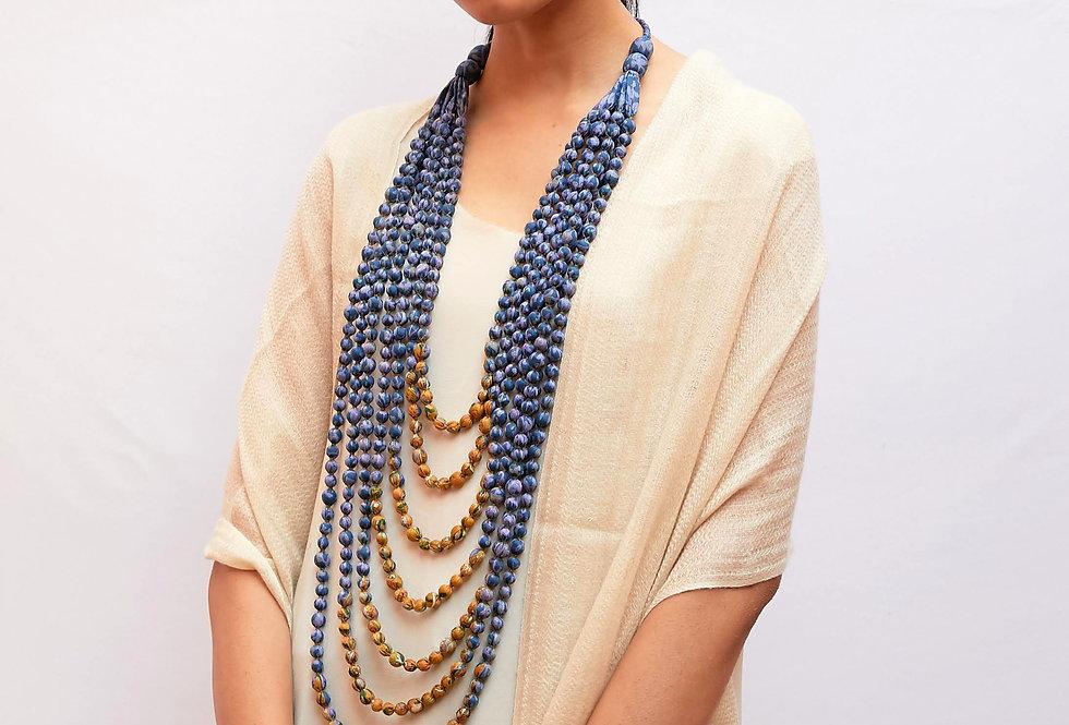 Sari Bead Necklace - 7 string | violet & mustard