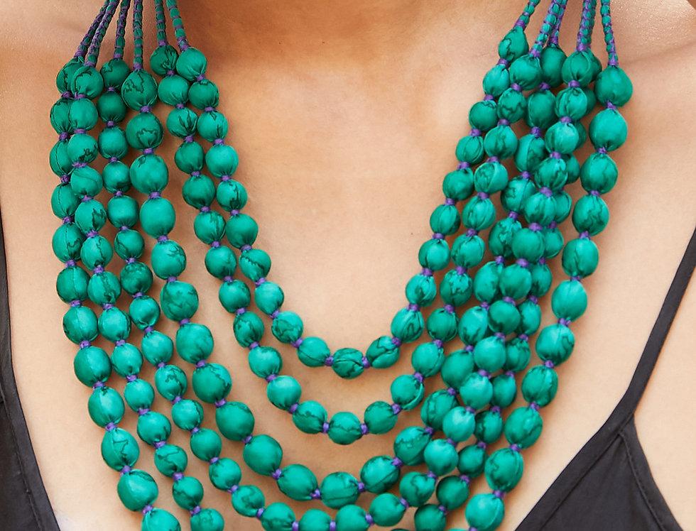 Sari Bead Necklace - 6 string | aqua