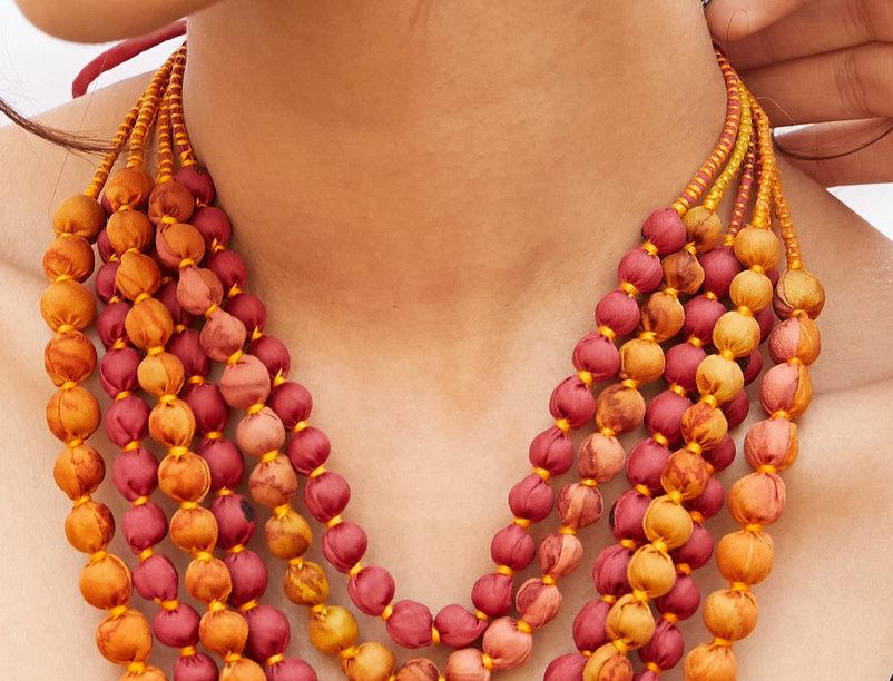 Sari Bead Necklace - 6 string | sunrise