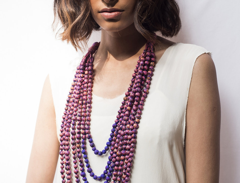Sari Bead Necklace - 7 string | candy floss & purple