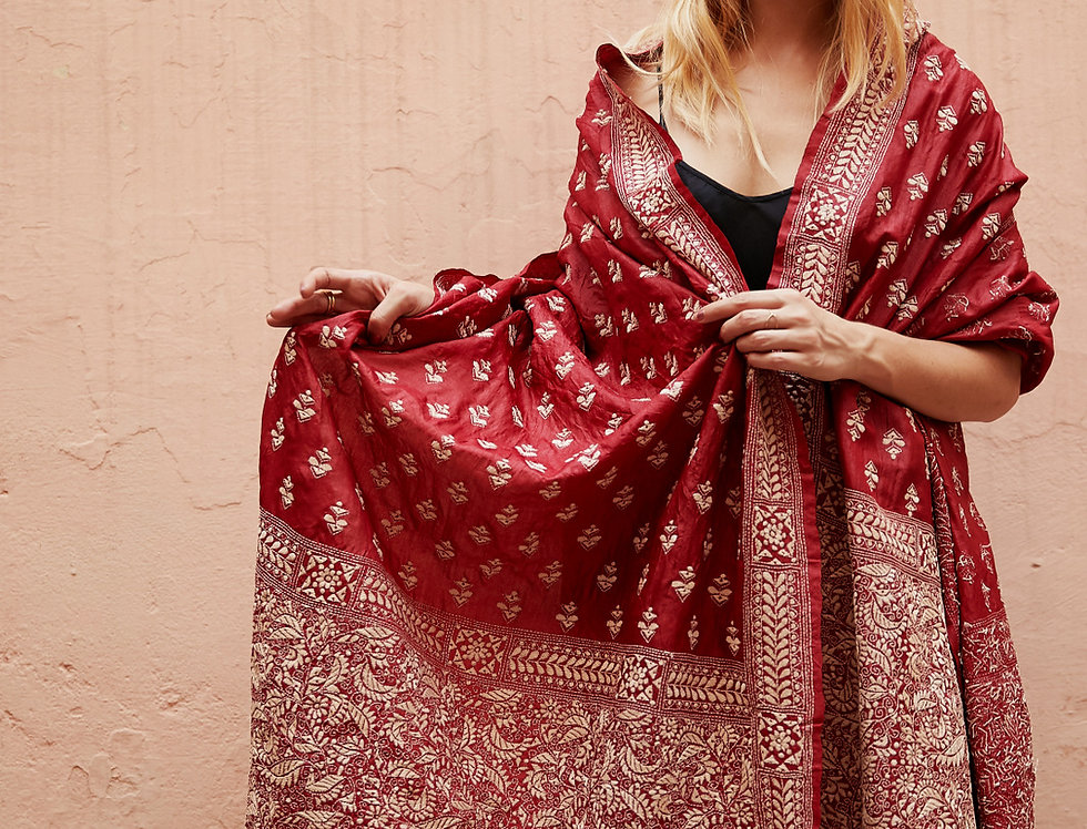 Nakshi Kantha Shawl | ruby