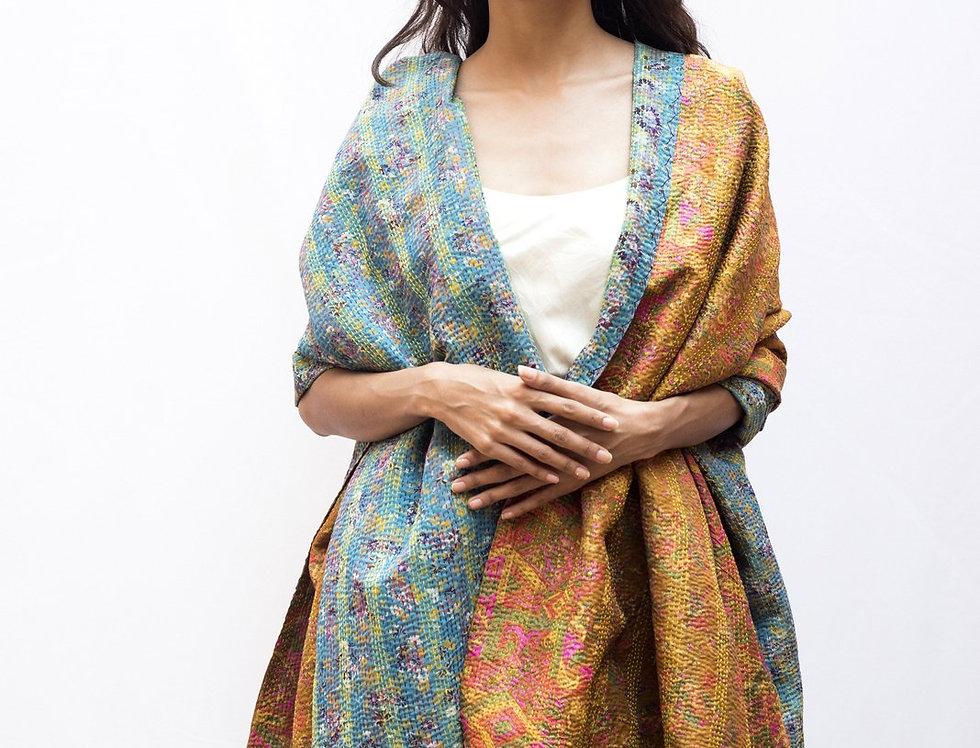 Kantha Sari Wrap | mustard & soft blue