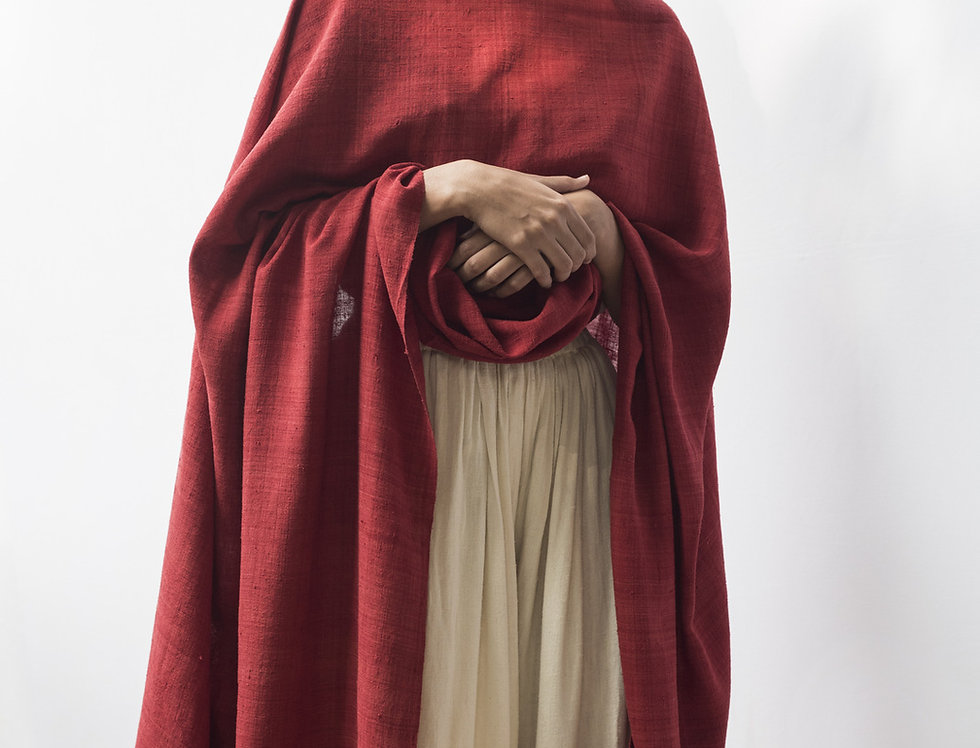 Mulberry Peace Silk Wrap | madder red