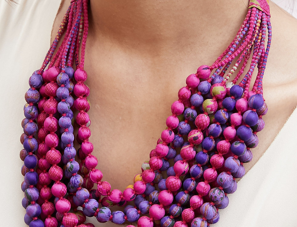 Sari Bead Necklace - 12 string | fuchsia