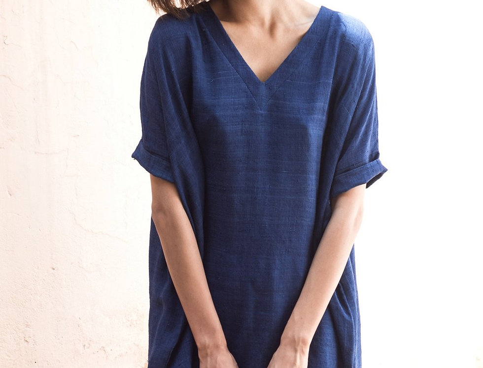 Mulberry Peace Silk Box Dress | organic indigo
