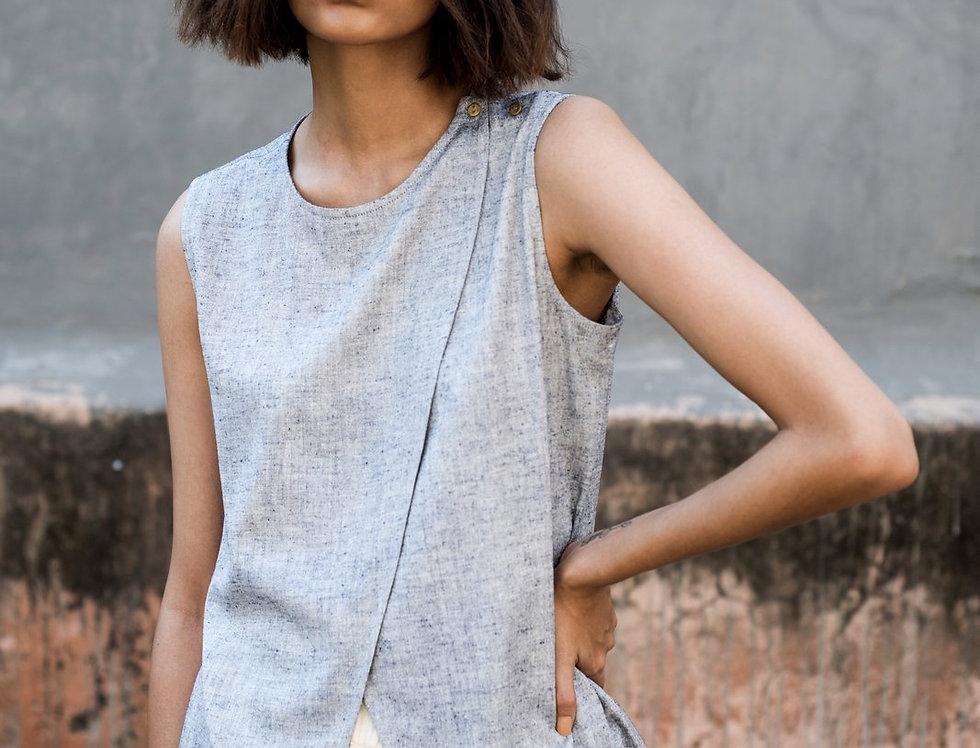 Eri Peace Silk V-front Shell Top | indigo chambray