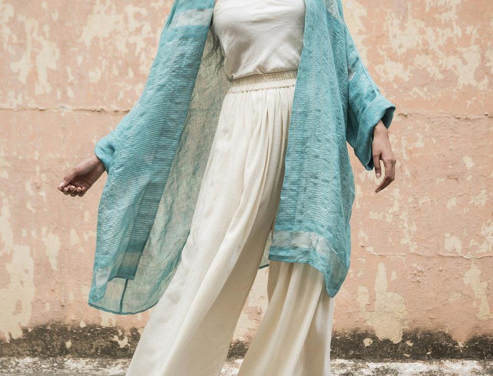 Lineya Linen Lounger   caribbean blue & silver