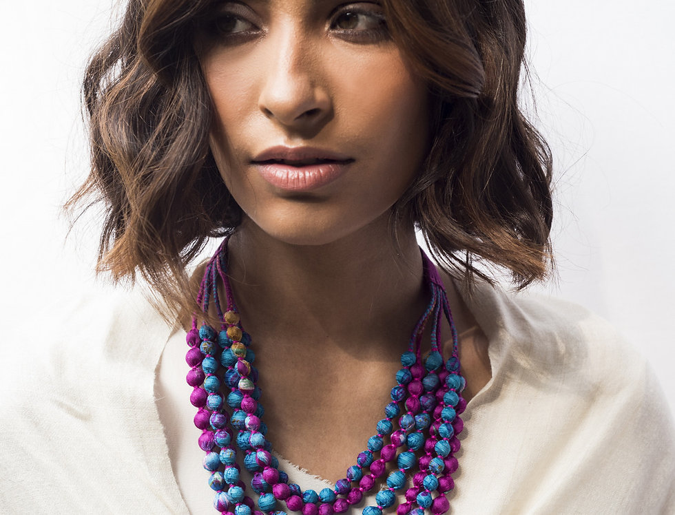 Sari Bead Necklace - 6 string | magenta & blue II