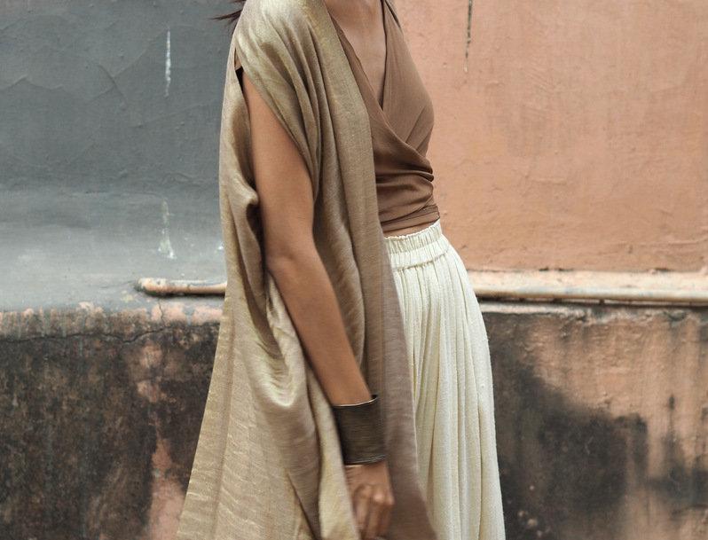 Pashmina Double Dune Robe | beige & gold