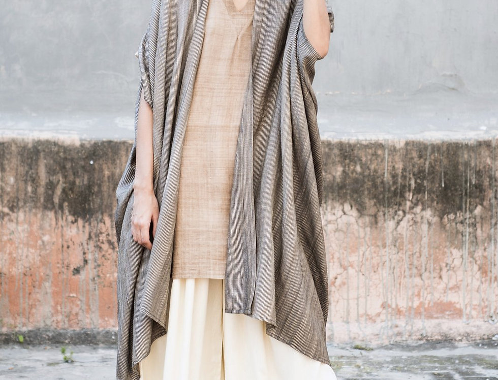 Tussar Peace Silk Dune Robe | sable