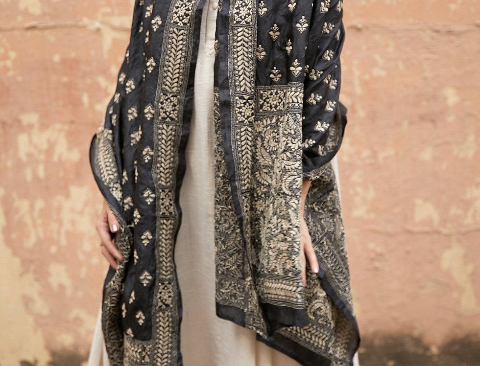 Nakshi Kantha Shawl | charcoal