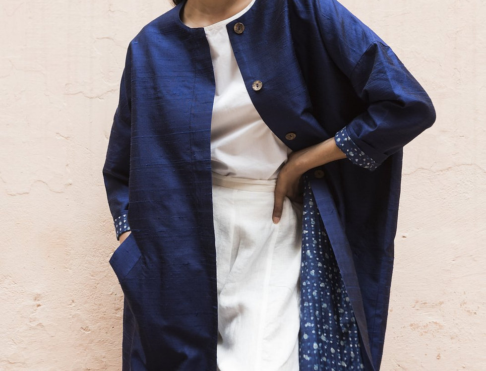 Raw Silk Cocoon Coat | sapphire