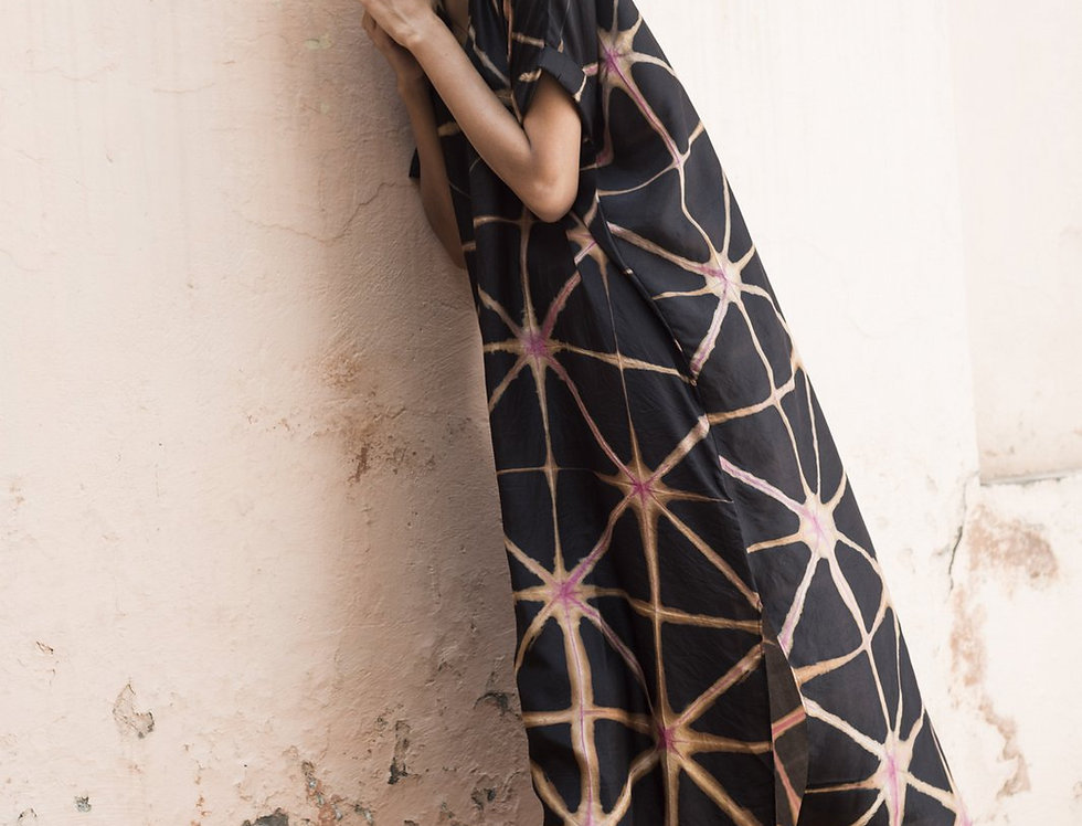 Itajime Silk Box Dress | cosmos
