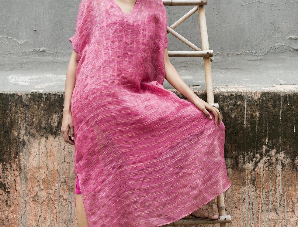 Lineya Linen Box Dress | berry & gold