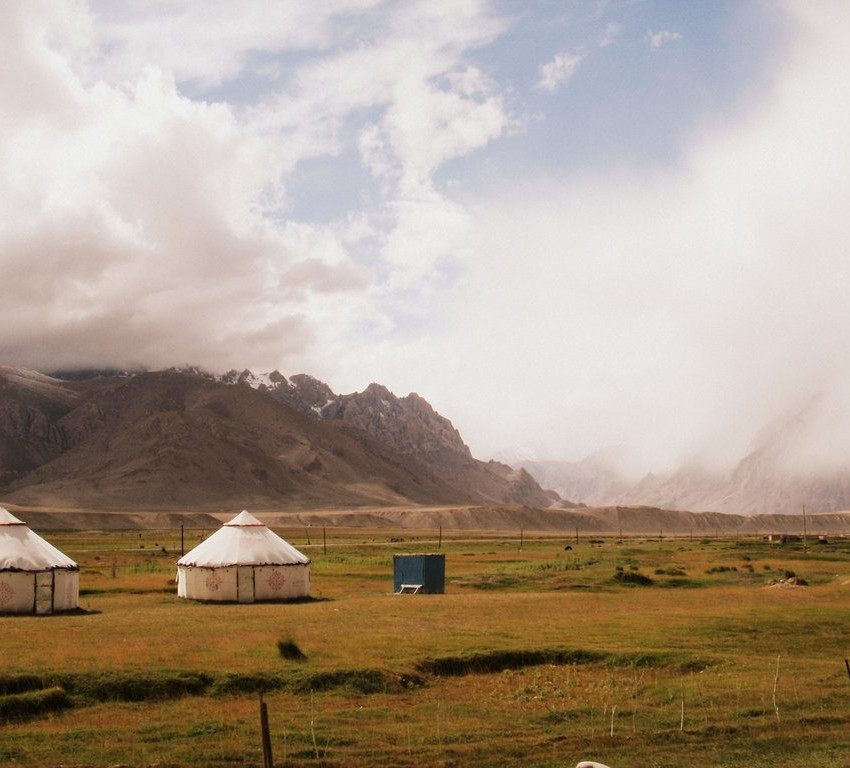 Tajik nomads and their yurts on the road to Taxkorgan.