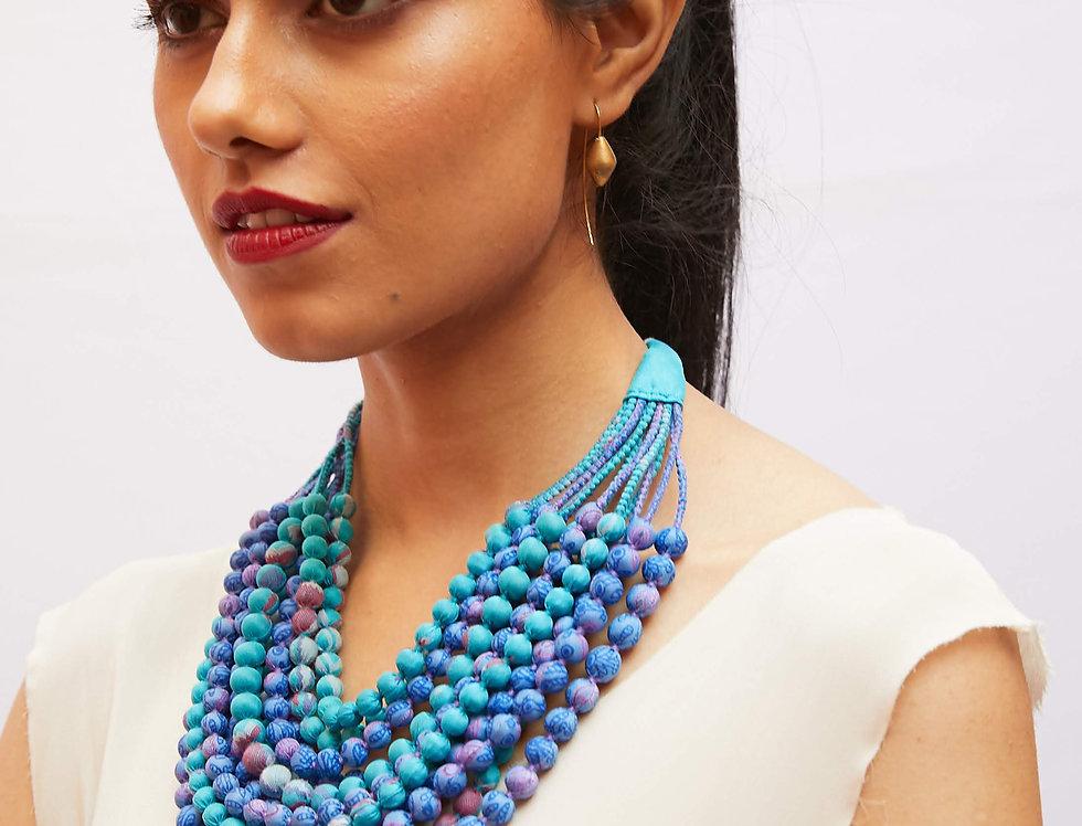 Sari Bead Necklace - 12 string | softest blues