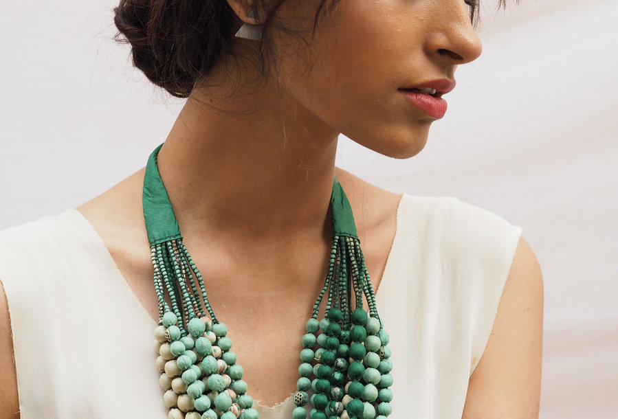 Sari Bead Necklace - 12 string | mint & green