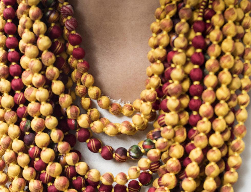 Sari Bead Necklace - 22 string | ikat sunburst