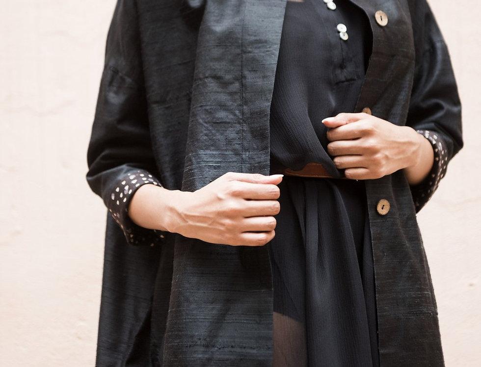 Raw Silk Cocoon Coat | onyx