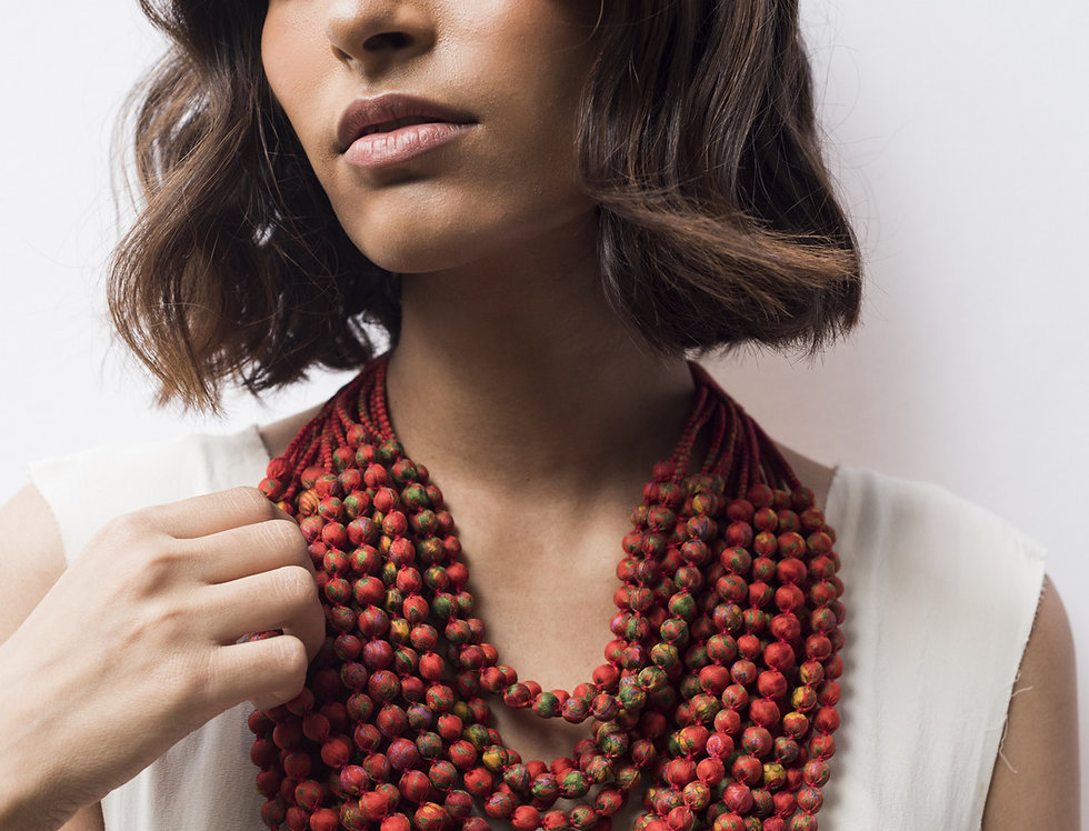 Sari Bead Necklace - 22 string | chilly