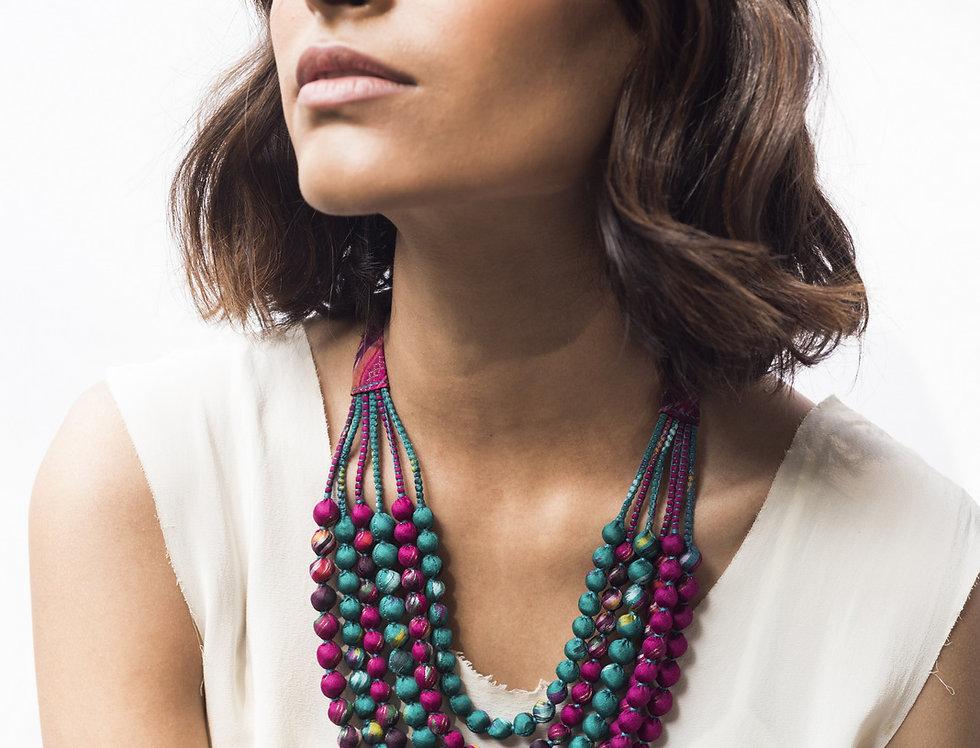 Sari Bead Necklace - 6 string | ikat rani pink & teal