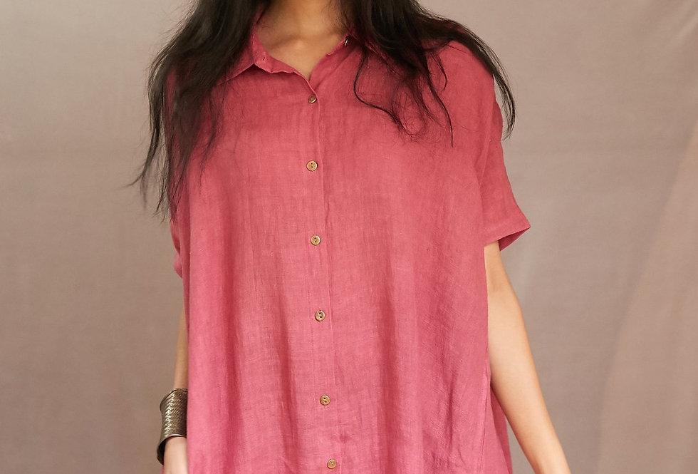 Natural Dye Linen Artist Dress | peony