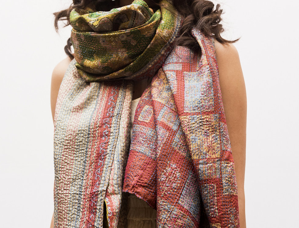 Kantha Sari Wrap | lime paisley