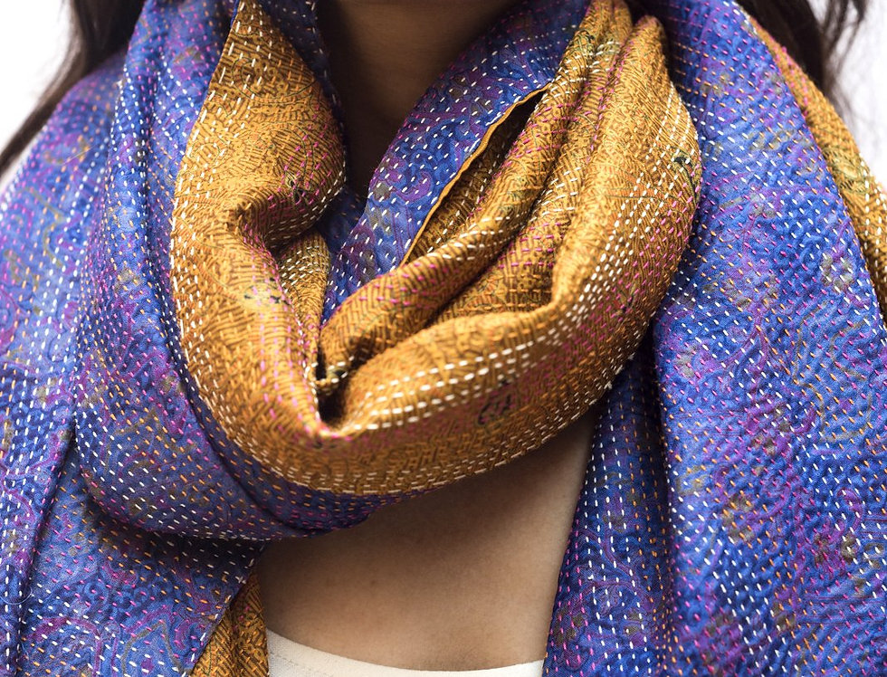 Kantha Sari Wrap | purple & topaz