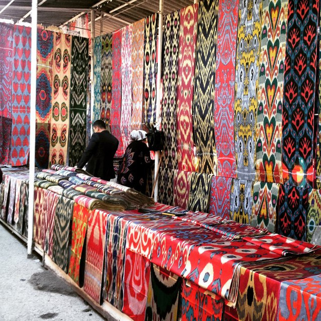 Much of the ikat produced will end up in local markets. Ikat is still popular in Central Asia, and especially sought after by brides to be, as multiple ikat dresses are required during the marriage ceremony and events.