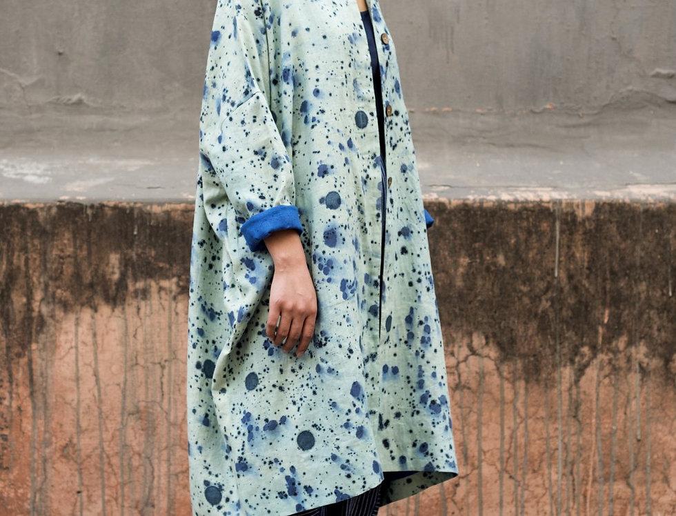 Splattered Linen Cocoon Coat | indigo & mint