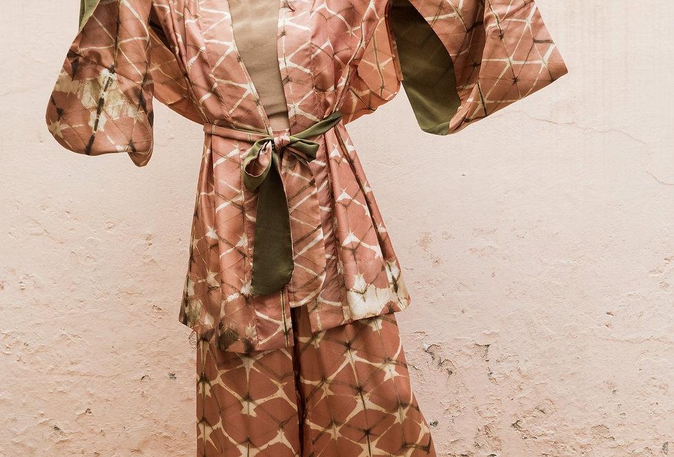 Itajime Silk Kimono | terracotta