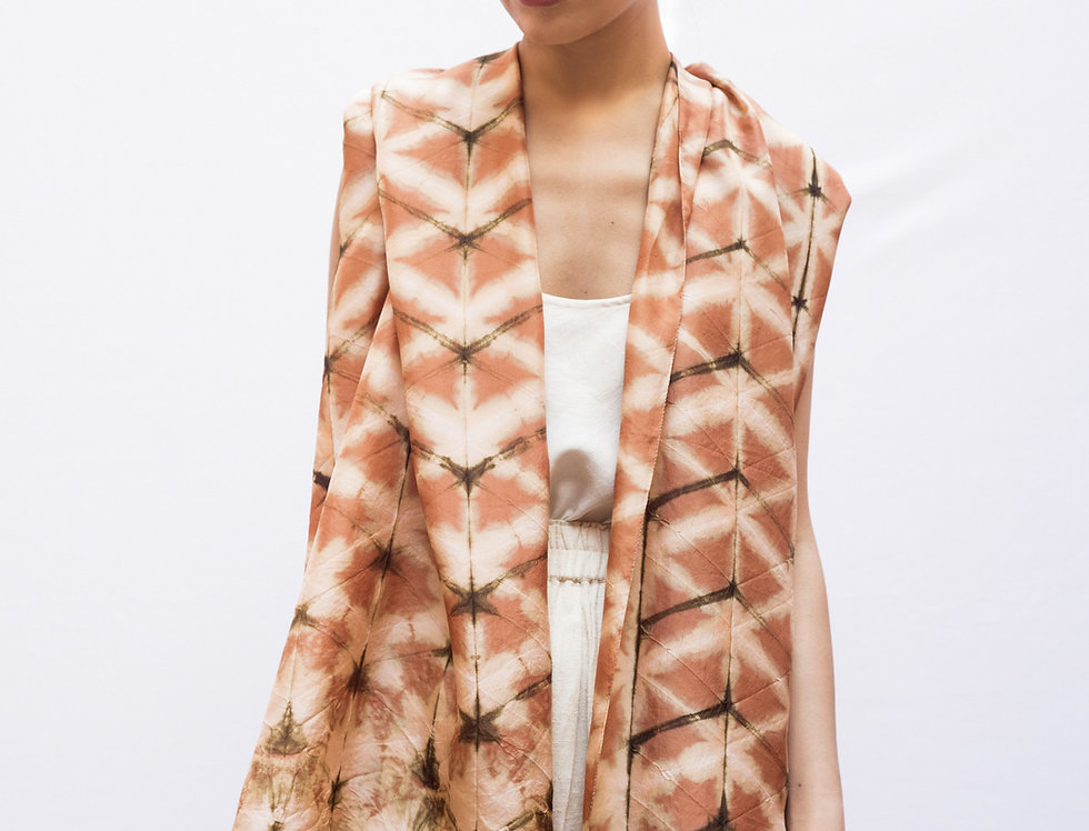 Itajime Silk Scarf | terracotta