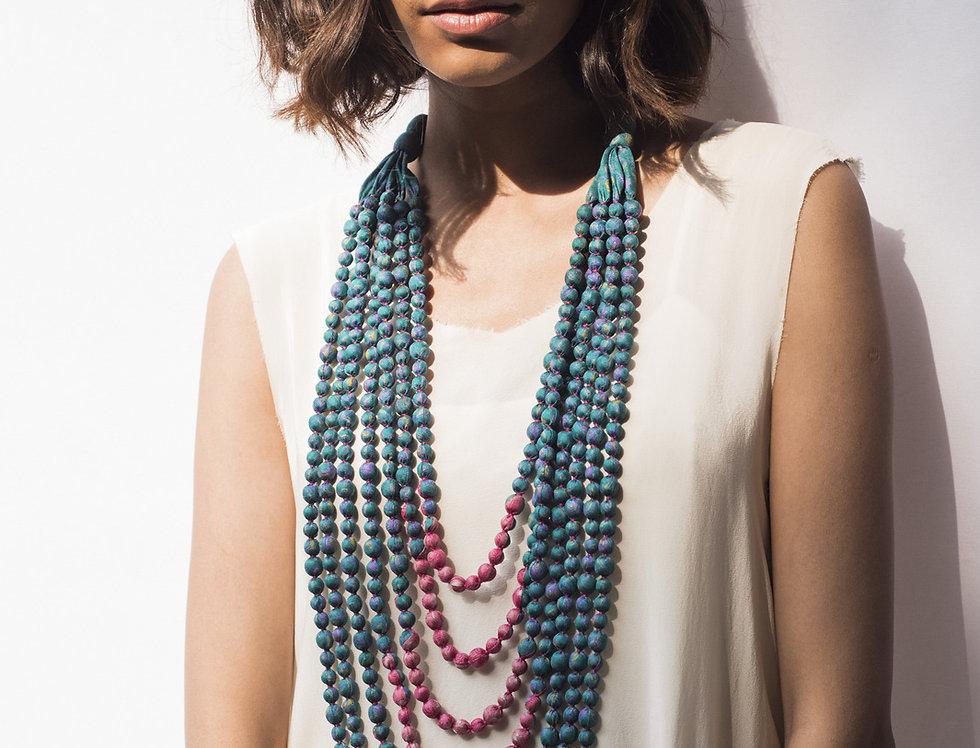 Sari Bead Necklace - 7 string | teal & pink