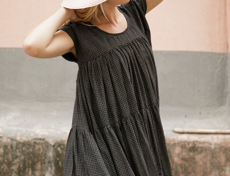 Tiered Dress | black check