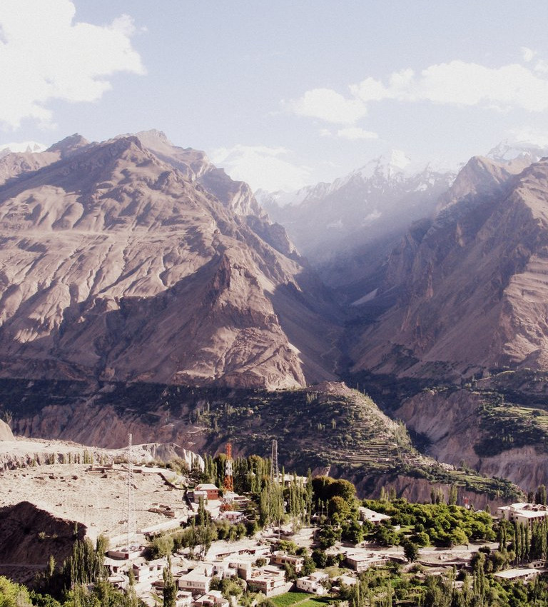 The view across the Indus River Valley of the Karakoram Range, from Karimabad Village, Hunza.