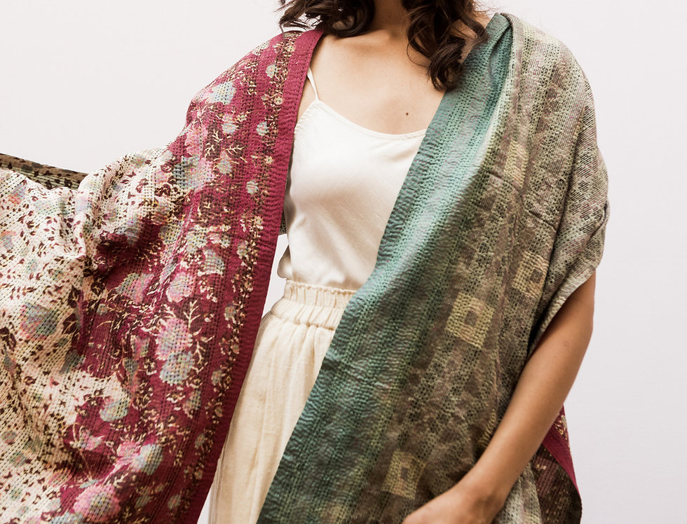 Kantha Sari Scarf | mint & floral print