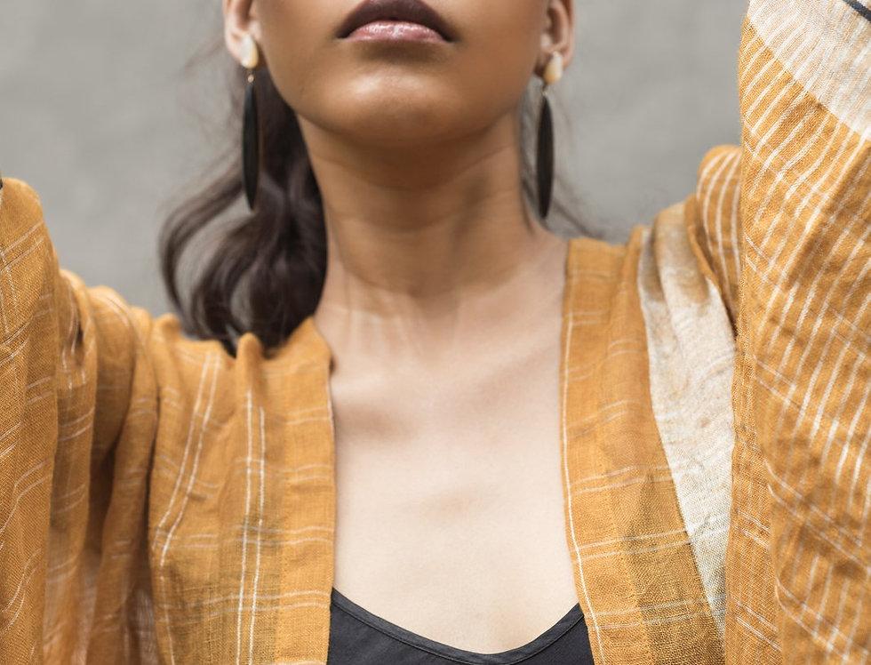 Lineya Linen Dune Robe | saffron & silver