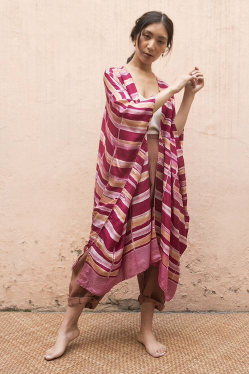 Itajime Silk Reza Robe | rani pink