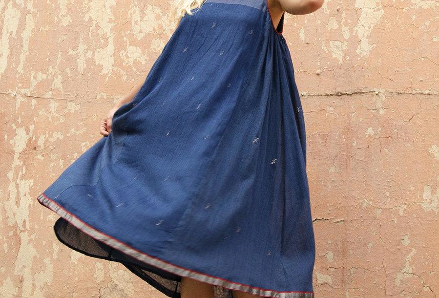 Marjim Dress | jamdani indigo