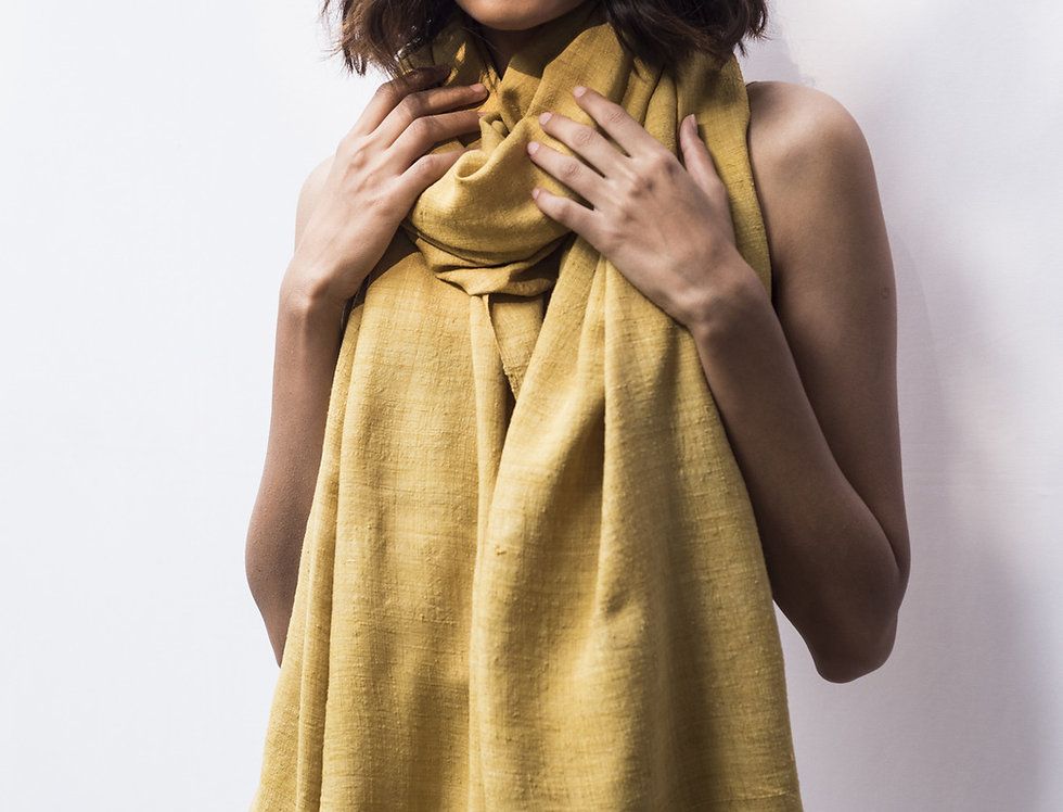 Mulberry Peace Silk Wrap | turmeric yellow
