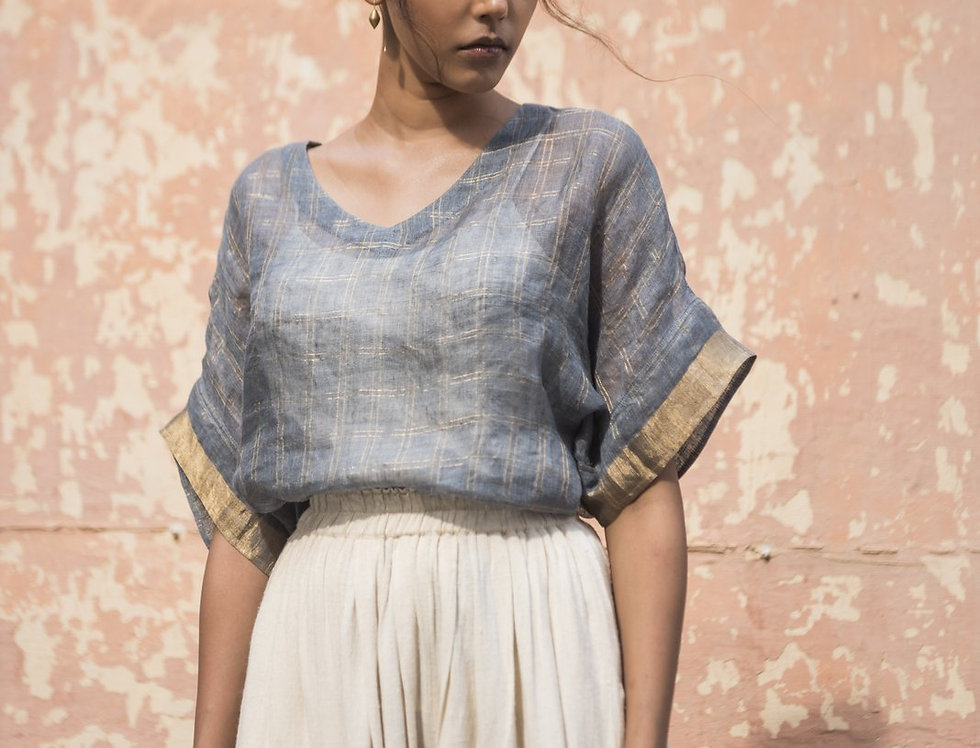 Lineya Linen Box Top | slate blue & gold