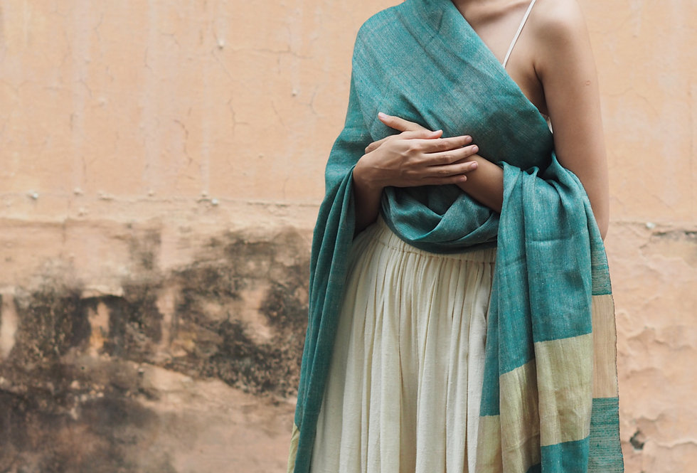Pashmina Wrap | deep teal & gold