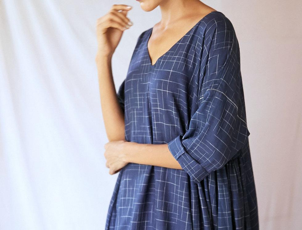 Milos V-neck Dress | indigo ikat
