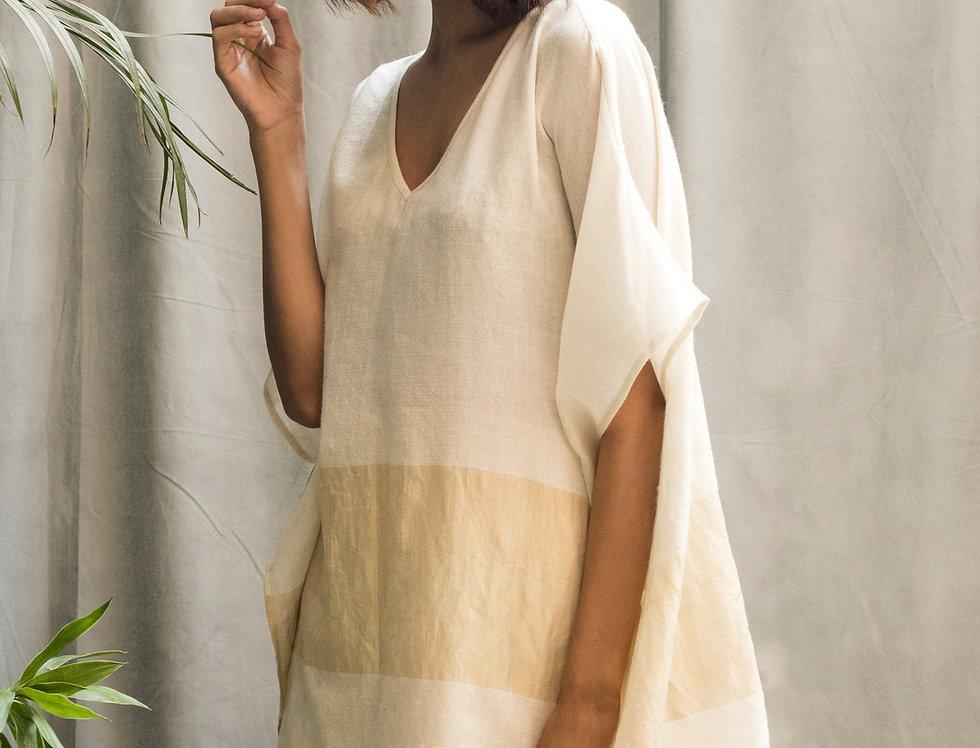 Pashmina V-neck Poncho | ivory & gold